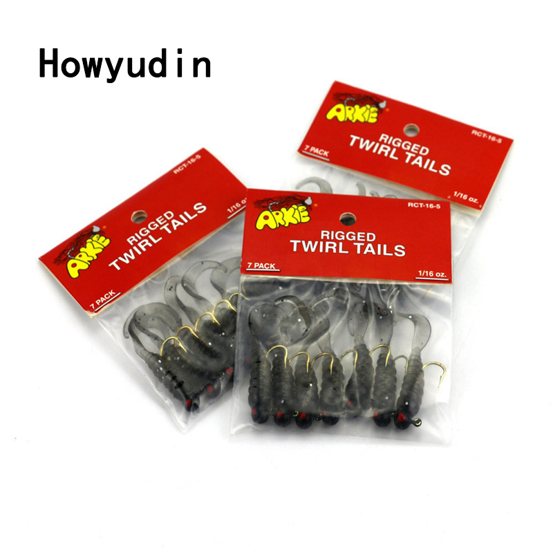 7Pcs/Lot 4.4cm/1.75g leurre souple Lead Head Hook soft lure Portable Travel soft baits fishing isca artificial fishing wobblers