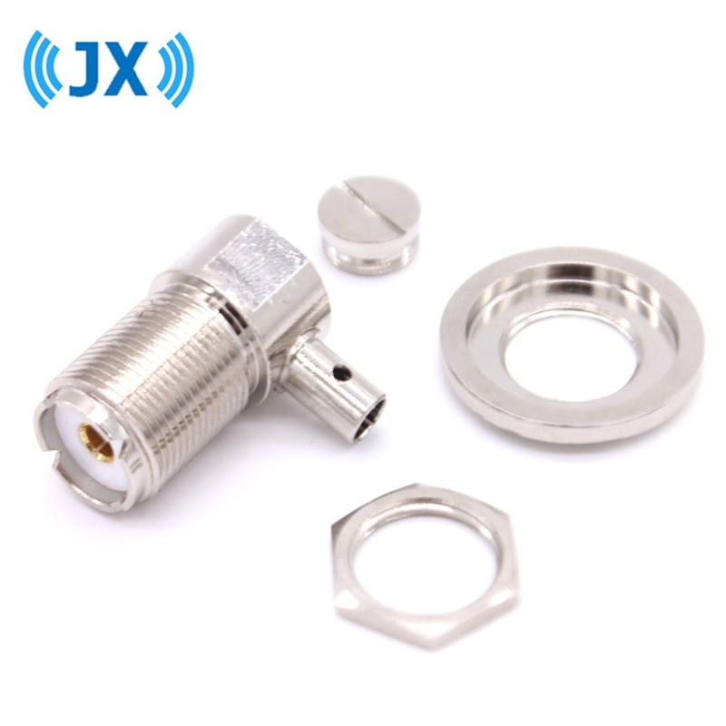 JX UHF SO239 female crimp RF Coxial connector SO239 UHF female right angle Crimp for RG58 RG142 LMR195 coaxial cable fast ship rus stock 10pcs tnc male plug crimp connectors for rg58 rg142 lmr195 rg400 cable fast ship
