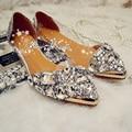 Плоские Каблуки Танцы Обувь Кристалл горный хрусталь острым носом Пром обувь одного прозрачный сандалии вечернее платье свадебные туфли