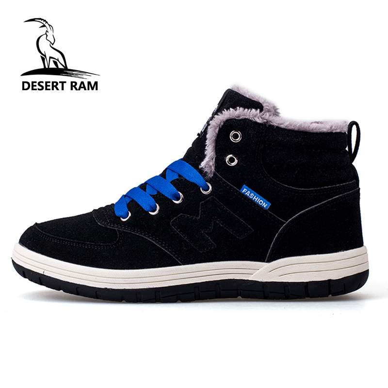 DESERT RAM Brand Men's Winter Shoes Man Big Size Sneaker Mens Ankle Leather Boots Men Male Boot Warm Fur Classic Casual Snow Bot desert ram brand new ankle bot lace up men s boots leather boots for men shoes casual boot male winter black white sneakers shoe