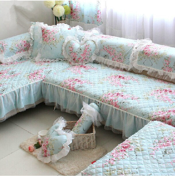 LMSL Sofa Cushion Seat Cushions Pastoral LACE Printed Sofa Cover Sectional  Sofa Backrest Towel Wedding Docoration