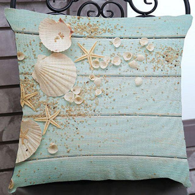 Online Shop European Nordic Starfish Seashells Sofa Cushion Home Adorable Seashell Pillows Decorative