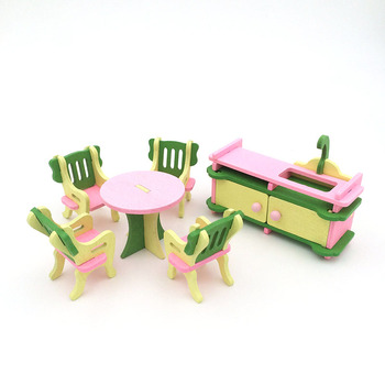 1:12 Dollhouse Miniature Furniture Wooden Creative Bathroom Bedroom Restaurant For Kids Action Figure Doll House Decoration Doll - 90544