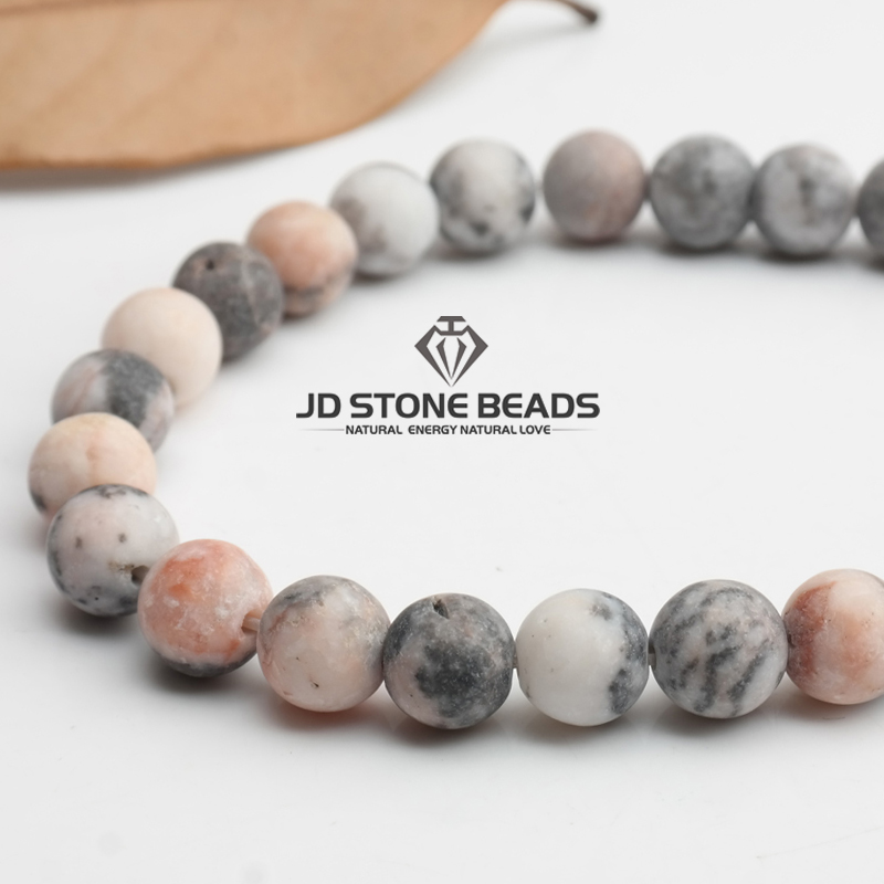 Matte Natural Stone Pink Zebra Jaspers Frost Round Loose gemstone beads 15 quot Strand 4 6 8 10 12MM Pick Size For Jewelry Making in Beads from Jewelry amp Accessories