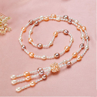 NEW brand fashion design glare Natural pearl Tassel style Long section Pearl necklace Wild sweater chain for woman