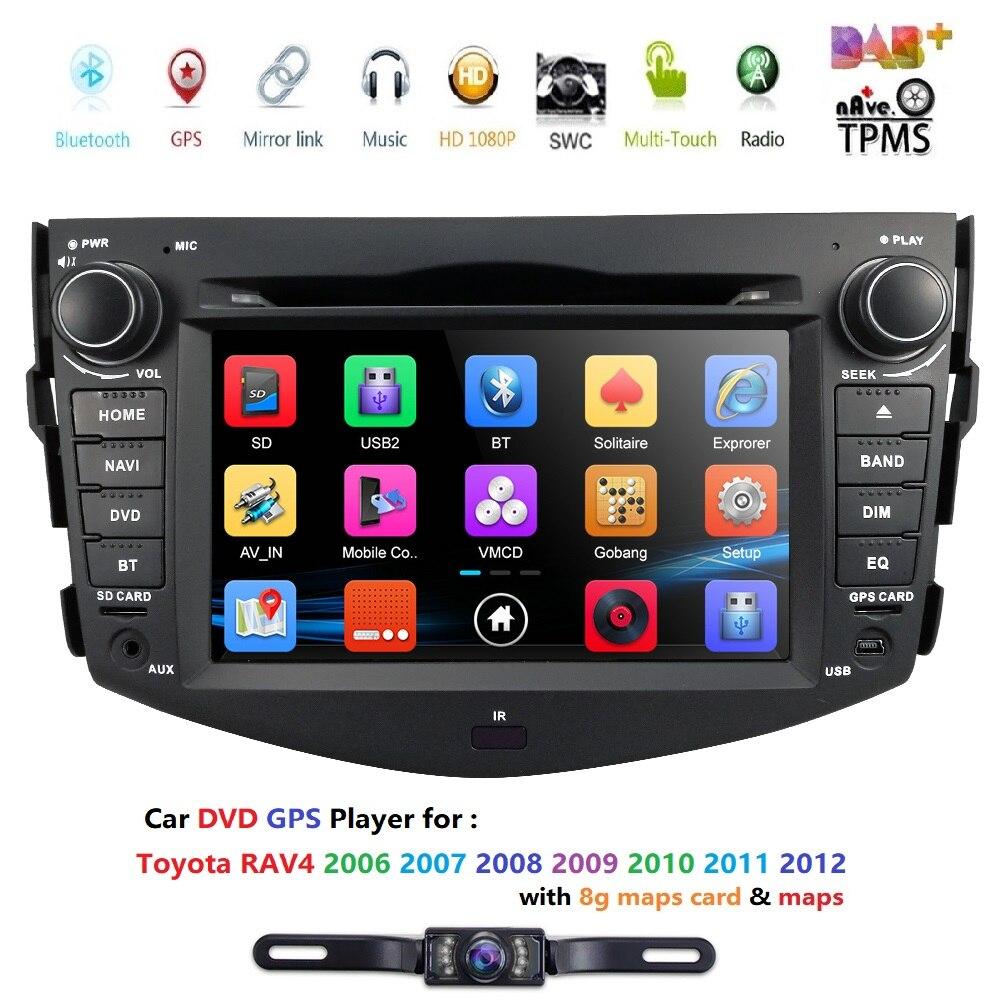 Hizpo 2 din autoradio magnétophone GPS stéréo lecteur DVD de voiture pour Toyota RAV 4 RAV4 2006 2007 2008 2009 2010 2011 2012 DAB +
