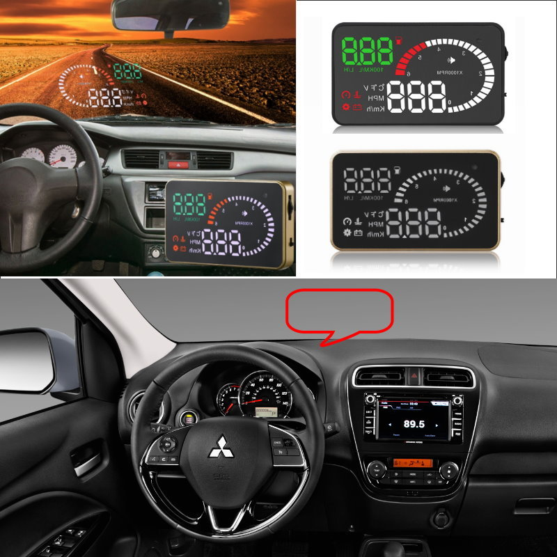 Liislee Car HUD Head Up Display For Mitsubishi ASX Lancer Outlander L200 Pajero Co - Safe Screen Projector / OBD II Connector liislee car hud head up display for subaru forester xu impreza legacy outback safe screen projector obd ii connector