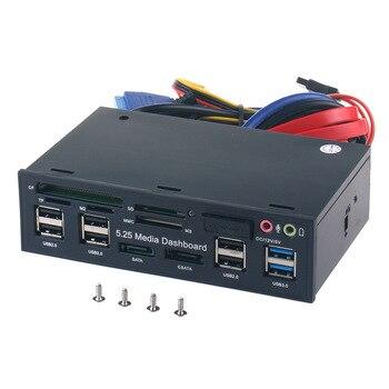 Multi-Function USB 3.0 Hub ESATA SATA Port Internal Card Reader PC Media Front Panel Audio For SD MS CF TF M2 MMC Memory Cards