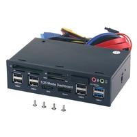 Multi-Fungsi Usb 3.0 Hub E SATA Port SATA Internal Card Reader PC Media Panel Depan Audio untuk SD MS CF TF M2 MMC Kartu Memori