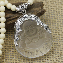 New arrival silver obsidian necklace buddha laughing buddha pendant white crystal sweater necklace 925 pure silver pendants
