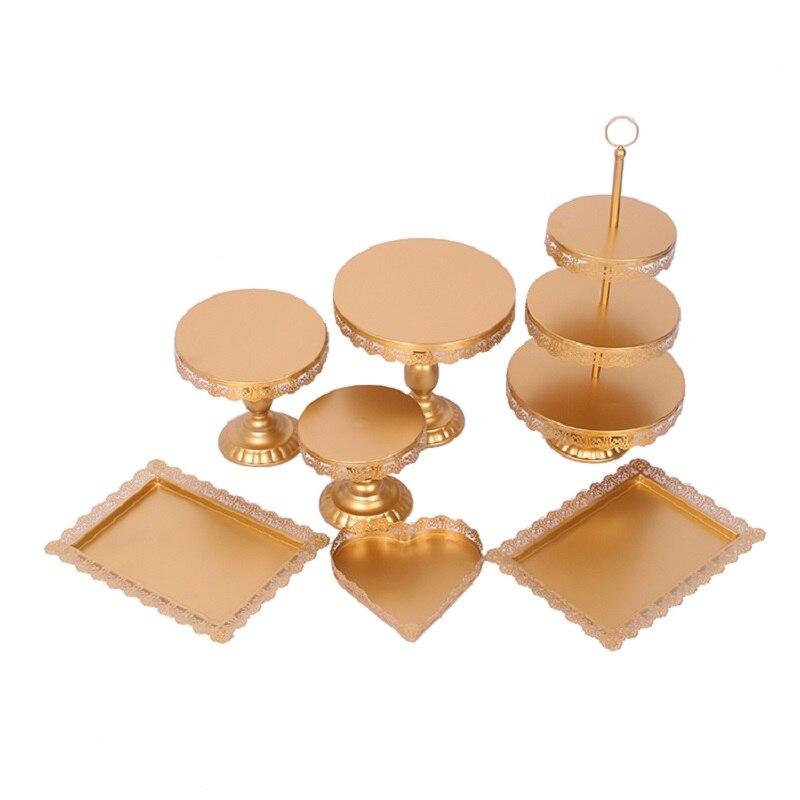 7 pièces cristal 3 niveaux en métal décoratif bonbons Cupcake tasse or gâteau Stand
