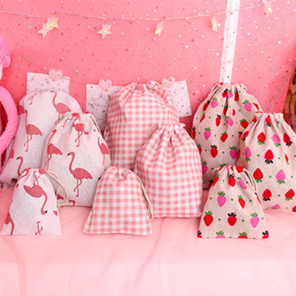 Bolsa de almacenamiento de lino de algodón hecha a mano bolsa con cordón bolsa pequeña monedero viaje mujeres pequeña bolsa de tela bolsa de regalo de Navidad