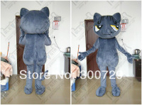 export high quality POLE STAR MASCOT COSTUMES custom slim dark grey cat mascot costumes hot sale wild cat costumes