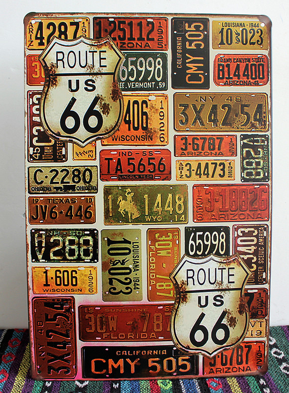 about route 66 and numbers metal tin signs wall art craft metal painting home decor for bar and coffee 20x30cm SP-66-020