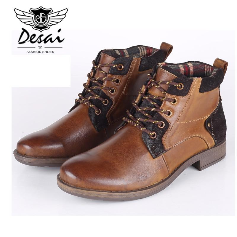 top Genuino Encaje Oxfords Nieve Botas Zapatos Gran Plus Ocasionales Brown Los De Hombres Tamaño Desai Piel Cuero Alto xp7q1FwCC