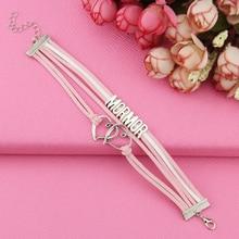 Fashion love mormor & farmor rop double hearbracelet gift heart feet charm Rope Bracelet for women Leather Drop Shipping