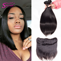 Ms Cat Hair 3 Pcs Bundles With Lace Frontal Weave Brazilian Virgin Hair Straight Brazilian Lace Frontal Closure Virgin Hair