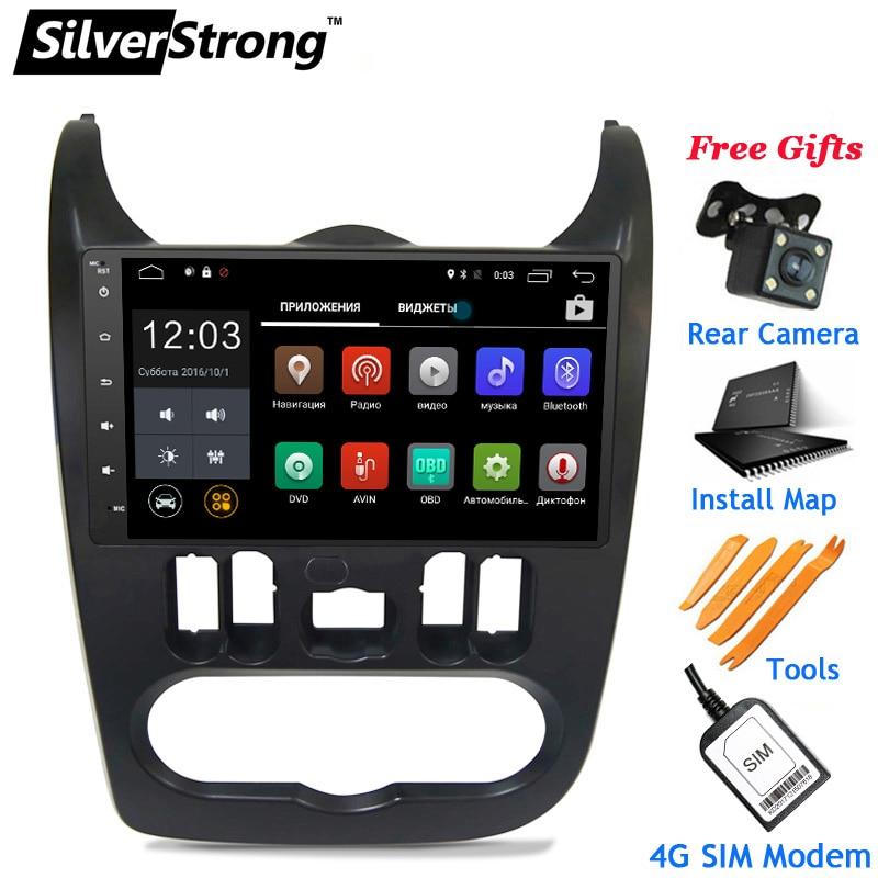 SilverStrong 4g LTE Modem 9 pouces Radio Android Voiture GPS pour Renault Logan JE Sandero Lada Lergus facultatif TPMS DVR OBD2