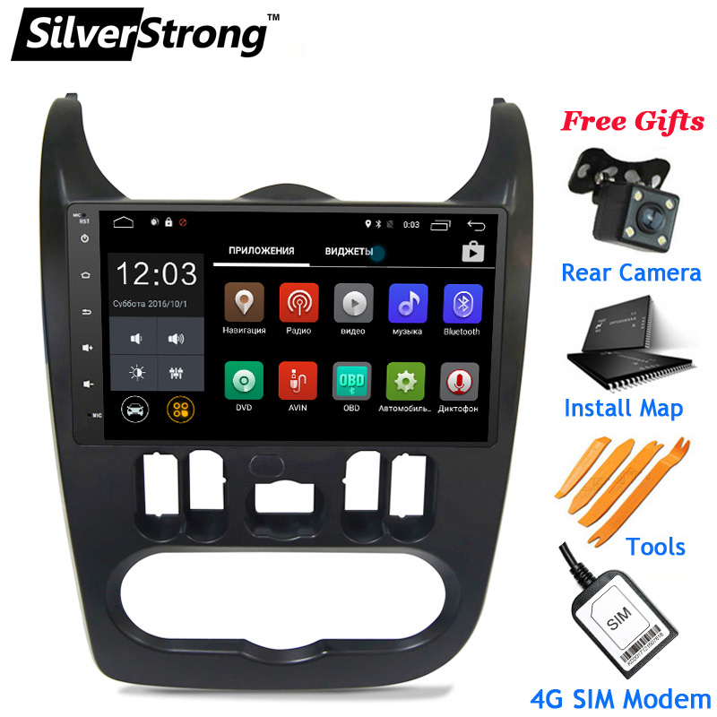 SilverStrong 4g LTE Modem android 8.1 9 inch Radio Android Auto GPS für Renault Logan ICH Sandero Lada Lergus optional TPMS DVR OBD2