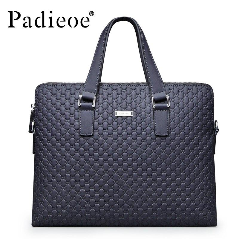 Padieoe Men Leather Briefcase 14 Inch Laptop Bag Business Bags Blue Plaid Handbag High Quality