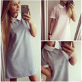New Summer Women Dress Casual Fashion Loose Dress Short Seelve Turn-down Collar Mini Dress Gray Pink  Ladies Clothing Plus Size