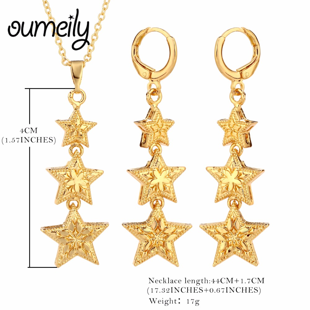 OUMEILY Elegant Bridal Jewelry Sets Star Shape Gold Color Brand