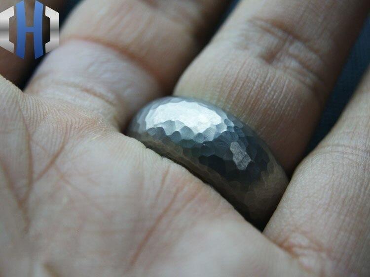 EDC Custom made Titanium Alloy TA2 Matte Gravel Stone Meteorite Percussion Tactical Ring