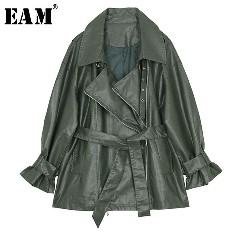 [EAM] 2019 New Spring Lapel Long Sleeve Green Pu Leather Loose Bandage Large Size Jacket Women Coat Fashion Tide JI751