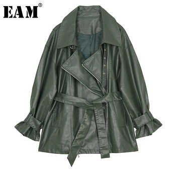 [EAM] 2019 New Spring Lapel Long Sleeve Green Pu Leather Loose Bandage Large Size Jacket Women Coat Fashion Tide JI751 - DISCOUNT ITEM  22% OFF All Category