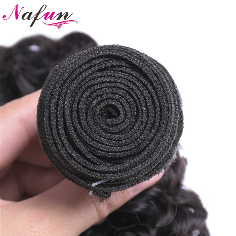 NAFUN cabello rizado brasileño tejido 3 paquetes de Color Natural 8-30 pulgadas no Remy 100% cabello humano extensión envío gratis