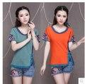 Hot Sale T Shirt Women 2016 Summer Hand embroidery Tops Short Sleeve Fashion T-shirts Women Plus Size Tshirt Cotton Shirt Femme