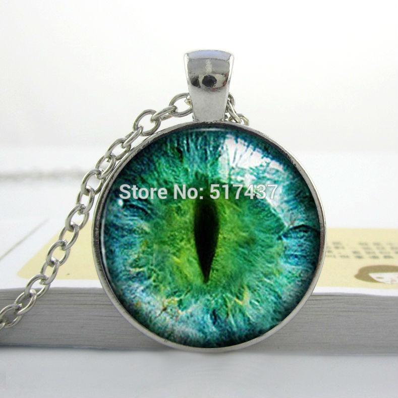 9d64523a5c93b الزجاج كابوشون قلادة والأخضر القط العين قلادة-ملون  الفن-المجوهرات-هدية-الفضة-هدية-xmas-link-الزنك الزجاج-صور-قلادة