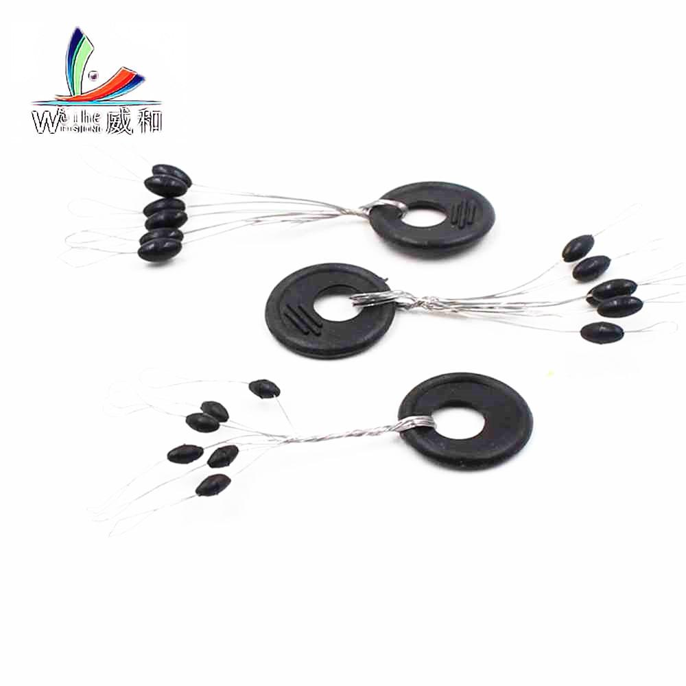 60 Pcs 10 Groups / Set Black Rubber Stopper Oval Bean Space Fishing Float Bobber Stopper Folat Line Stoppers Bobber Stops