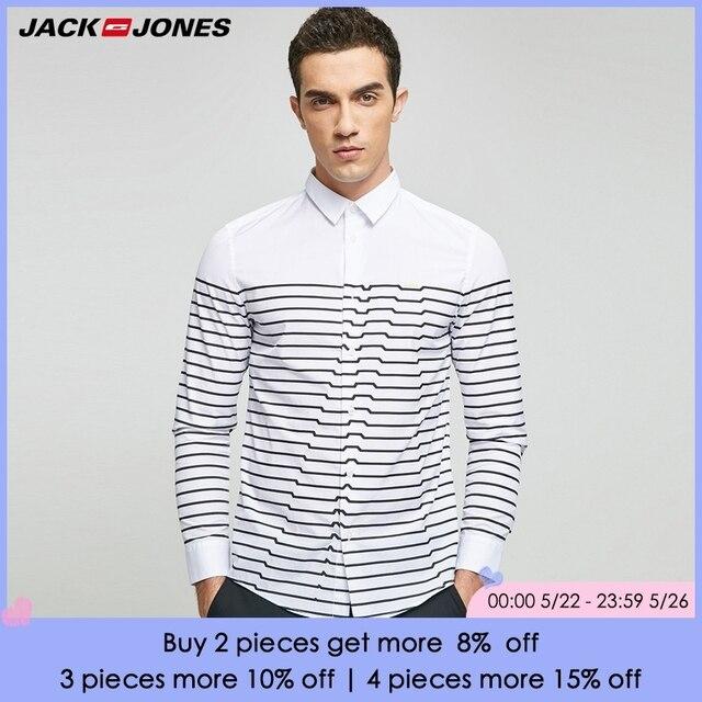 JACK & JONES Thương Hiệu 2018 MỚI thường xuyên BÔNG thông minh phong cách giản dị đầy đủ chiều dài tay áo lần lượt xuống cổ áo sơ mi nam | 217105508
