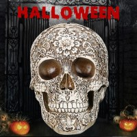 2018 Resin Craft Skull Statues Garden Statues Sculptures Skull Ornaments Creative Art Statue Halloween Home Decoration