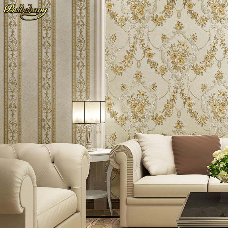 beibehang European - style rural AB version 3D embossed wallpaper non - woven living room bedroom TV background wall paper beibehang 3d velvet european style soft package non woven wallpaper modern simple living room bedroom tv background wall paper