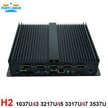 Мини-ПК безвентиляторный промышленный компьютер встроенный компьютер с низким энергопотреблением защищенных компьютеров Celeron 1037U i5 3317u Barebone ПК с 6 * RS232 com