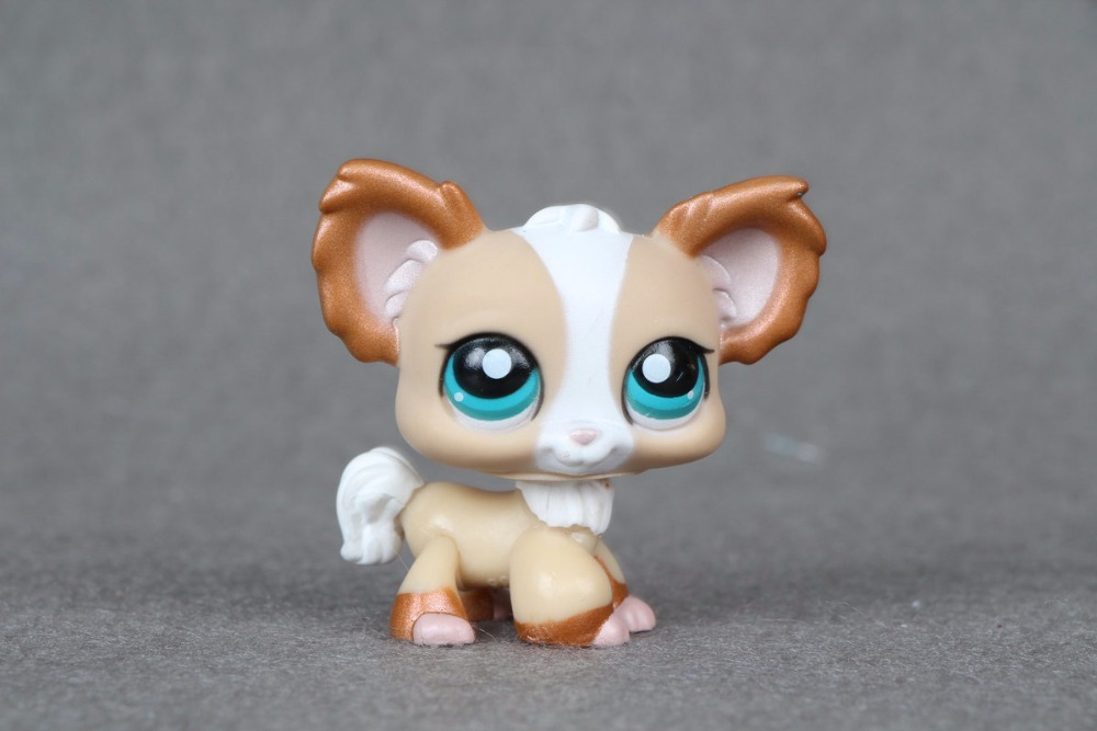 New pet Genuine Original LPS #1082 Tan & Bronze Shimmer Chihuahua Puppy Dog Blue Eye figure Toys new top grade gift pure tan wooden type h chun tan mu shu h kuan