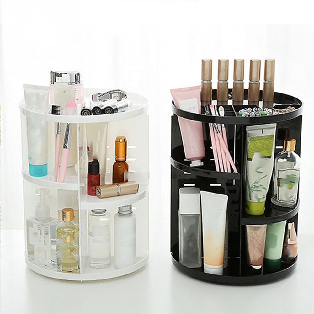 Transparent Cosmetic Display Box DIY 360 Degre Rotatable Acrylic Cosmetic Storage Box Atmospheric Beauty Organizer