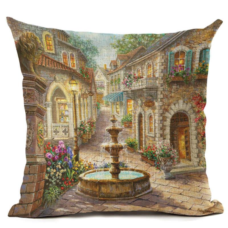 Лидер продаж Street Alley лен хлопок квадратный ретро домашний декор из цветов Пледы Подушки Детские Чехлы для подушек Cojines