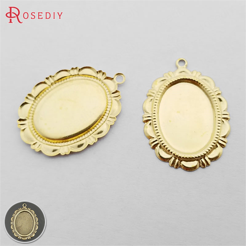 4pcs Flat Round Pendant Cabochon Setting Cameo Tray Metal FIndings 10mm Hole ...