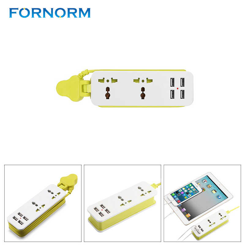 FORNORM Mở Rộng Cắm Ổ Cắm Outlet Travel Power Strip Surge Protector Với 4 USB Tường Thông Minh Sạc Máy Tính Để Bàn Hub Adapter ANH