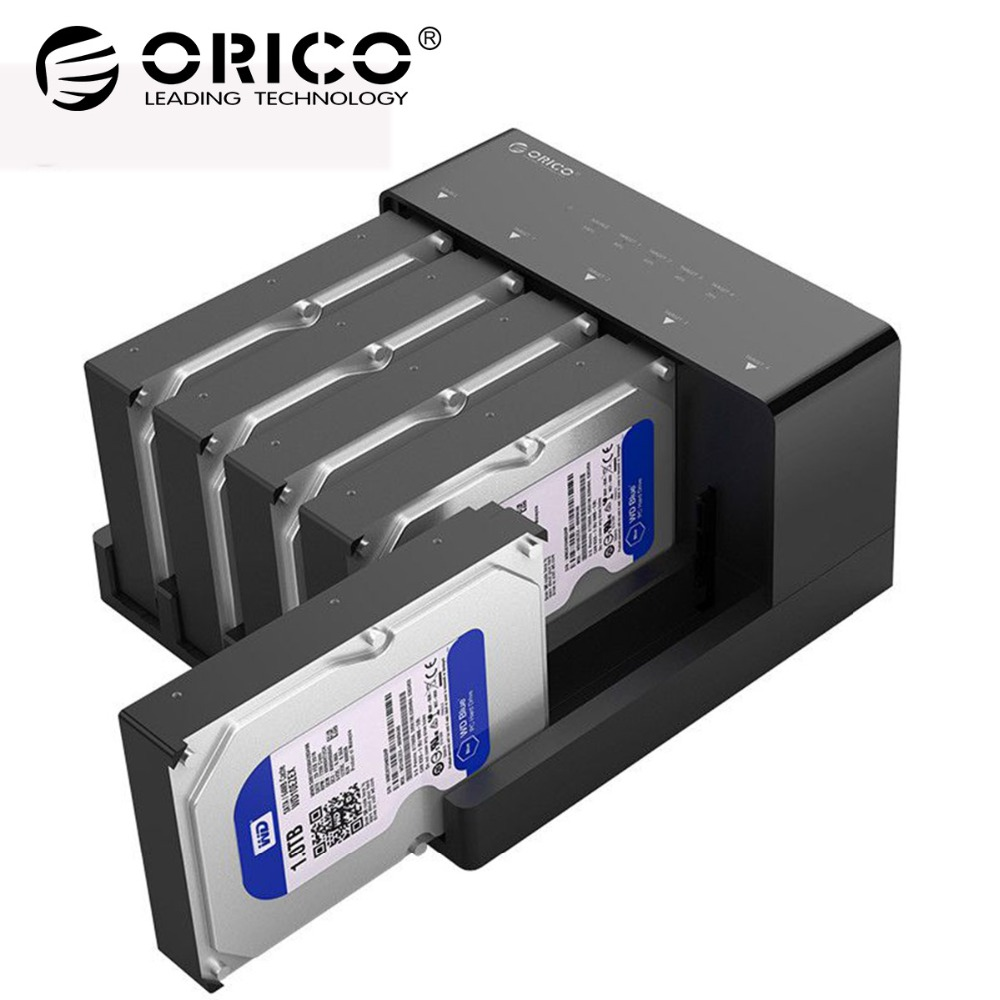 ORICO 5 Bay USB 3.0 HDD Docking Station Tool Free usb 3.0 to Sata Hard Drive Case Adapter For 2.5 3.5 Inch HDD SSD Clone Box orico 8618sus3 usb3 0 to e sata external hdd hard drive ssd docking station for 2 5 3 5 inch sata hdd ssd support 8tb drive