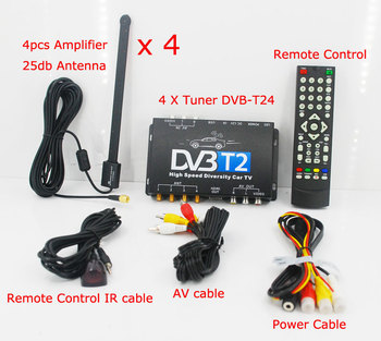 KUNFINE HDTV Car DVB-T2 DVB-T MULTI PLP Digital TV Receiver automobile DTV box With 4 Tuner Antenna HDMI HDTV Russia High Speed