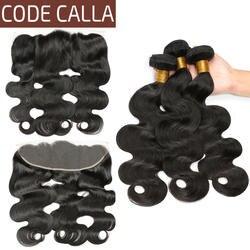 Код Калла Малайзии необработанные девственные пряди человеческих волос для наращивания 3/4 утка средства ухода за кожей волна Связки с 13*4