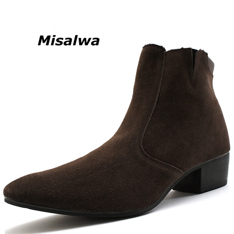 Misalwa Mens Boots High-top Casual Pointed Toe Adult Male Shoes Autumn Zipper Young Teenagers Chelsea Boots Men Short Ankle Boot fashion men leather high boots spring autumn ankle boots men comfortable brogue shoes mens casual male pointed toe dress boots