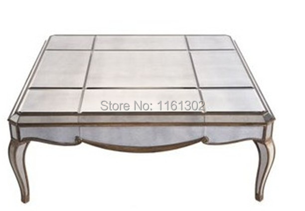 Mr 401035 Mirrored Square Coffee Table With Antique Gold Wooden Rimming China