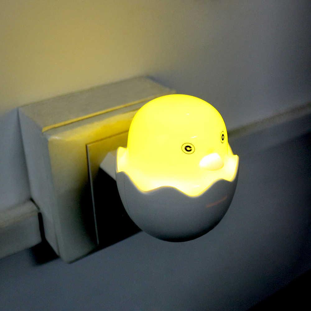 Настенная розетка ЕС лампы светодиодный ночник AC 220 V датчик контроля освещенности желтая утка спальня лампа милый подарок для детей