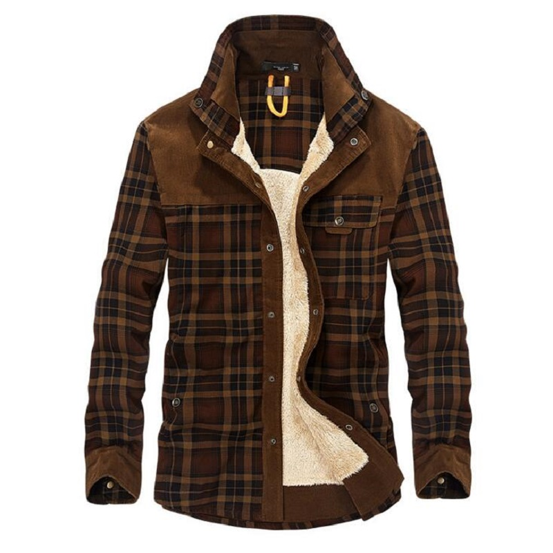 Military Shirt Men Casual Shirts 100% Cotton Winter Wool Thick Warm Shirts Plaid Fleece Camisa Masculina Chemise Homme M-3XL