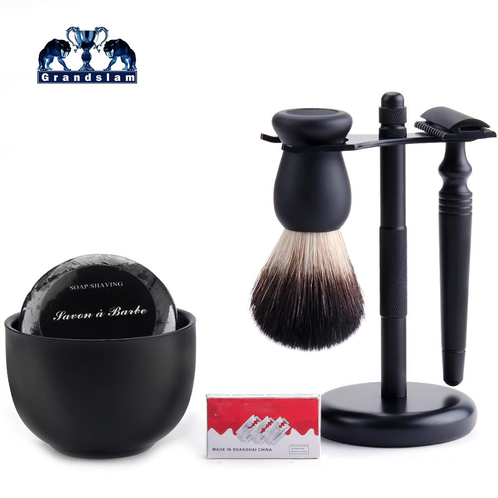 Grandslam 5in1 Black Manual Safety Razor Set Shaving Brush Badger Hair + Double Edge Razor Holder + Shaving Bowl+Shave Cream Kit